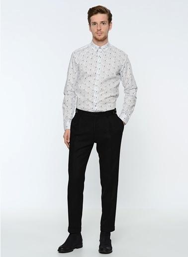 Que Desenli Slim Fit Gömlek Beyaz